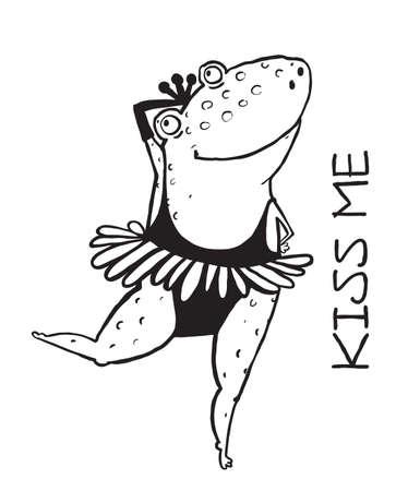 Outline frog kiss me. Valentine animal love illustration, romantic character princess vector
