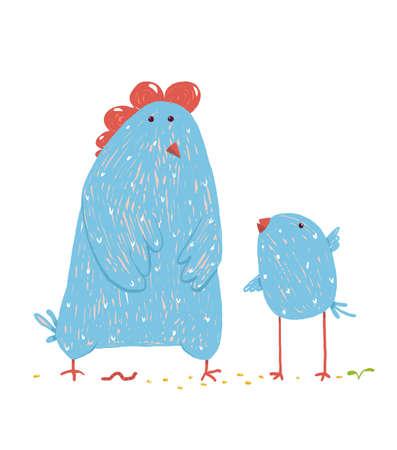 Poultry animal farm, livestock domestic, nature rural, vector illustration