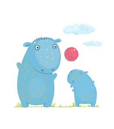 Mammal parent animal cartoon wildlife, cheerful hippo, vector illustration