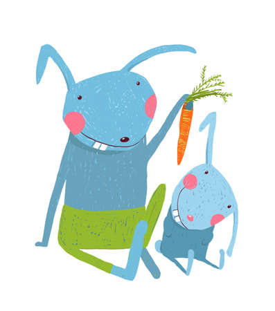 Animal parent bunny with kid, vegetarian vegetable eating, vector illustration Standard-Bild