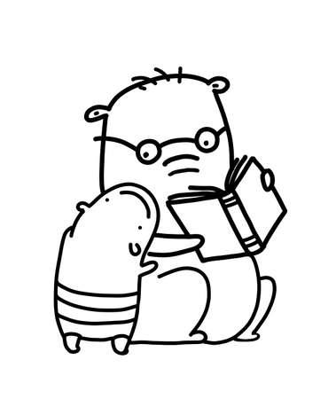 Animal character learning textbook line art, wisdom and study mammal, vector illustration. Standard-Bild