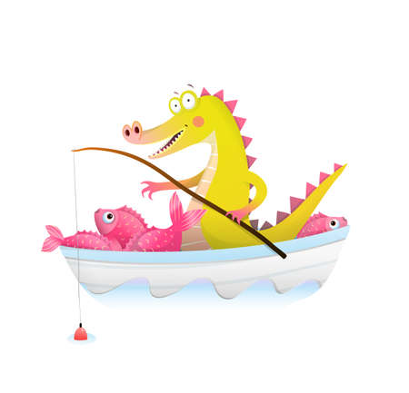 Baby Crocodile or alligator in boat fishing with fishing rod. Fisherman dragon happily smiling with big catch of fish in boat. Cute watercolor style vector animals cartoon for children.
