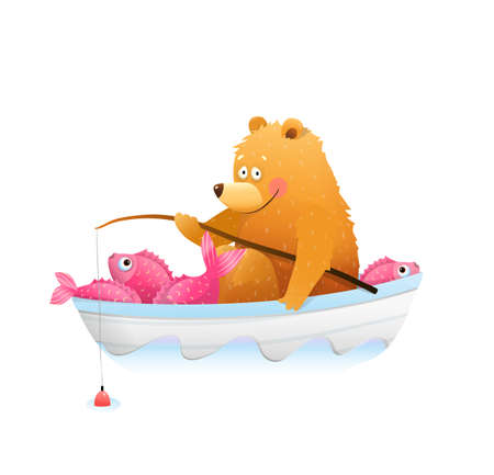 Baby Bear in boat fishing with fishing rod. Fisherman bear cub happily smiling with big catch of fish in boat. Cute watercolor style vector animals cartoon for children.