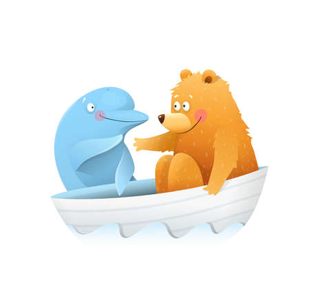 Cute funny Bear meeting dolphin while sailing, colorful animal cartoon for kids storytelling, kind and friendly kids picture. Watercolor style vector graphic for children. Illustration