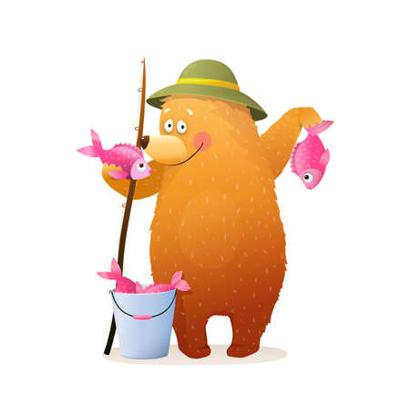 Cute Bear Fisherman Character standing holding catch, bucket, and fishing rod. Animals Leisure summer activity and hobby pursuit. Vector 3d in watercolor style design.
