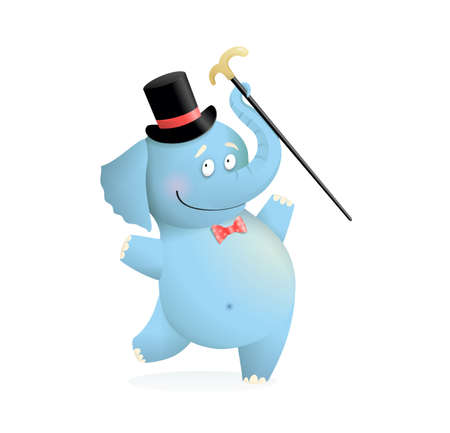 Funny baby blue Circus, Elephant character for kids. Cute happy elephant wearing hat and holding cane animal adorable drawing for kids. Watercolor style cartoon vector illustration