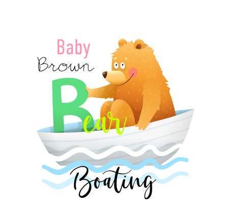 Cute Alphabet for kids education and study. Fun cartoon Baby Bear in a Boat for letter B. Kindergarten and preschool reading study. Vector illustration in watercolor style. Illustration