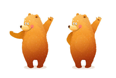 Amusing Bear animal character mascot, greeting, waiving or showing with hands. Separate animal character poses isolated clipart. Cute baby cub Bear watercolor style vector cartoon for kids.