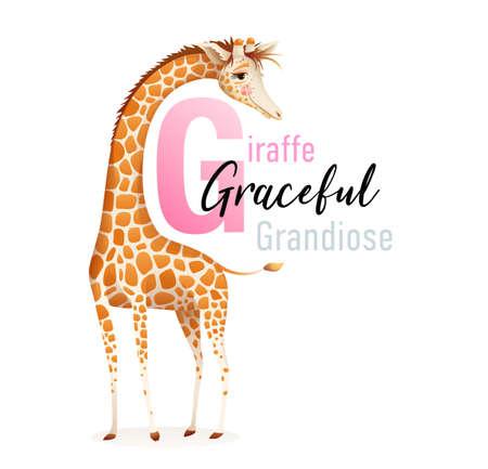 Animal alphabet for children, letter G is for Giraffe. Cute graceful giraffe representing letter G, beautiful 3d realistic ABC collection for kids. Vector cartoon illustration. Illustration