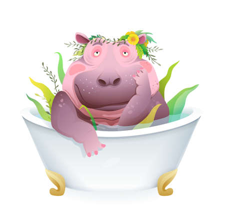 Humorous pet grooming cartoon with cute and funny female hippopotamus taking herbal bath. Fatty hippo in the bath tub, body positive animal fun cartoon. Vector artistic 3d realistic design.