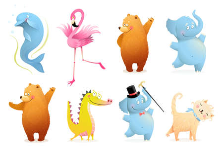 Collection of funny baby animals for kids projects. Adorable colorful Isolated clipart animals Bear, Elephant, Flamingo, Dolphin, Crocodile or Dinosaur and Cat or Kitten. Vector isolated clipart.