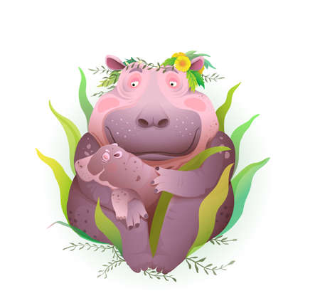 Hippopotamus mother taking care of her newborn baby in nature with grass and flowers, holding child in her hands. Artistic animal love to kid and motherhood illustration, isolated vector clipart.