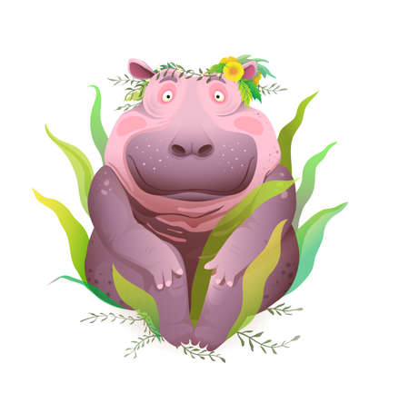 Body positive happy and smiling hippopotamus sitting in nature wearing flowers wreath on head. Cute happy hippo beautiful 3d realistic drawing t shirt prints and apparel design. Vector illustration. Illustration