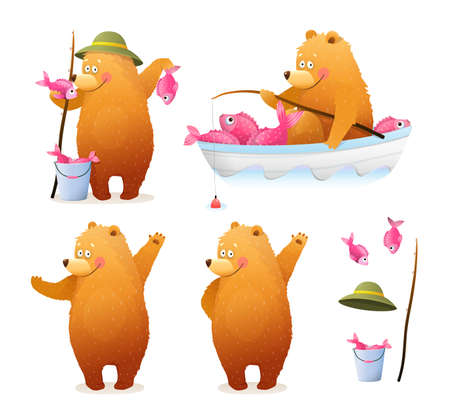 Amusing Bear Fisherman with bucket of fish and rod sitting in the boat, and standing with catch. Cute baby cub Bear watercolor style cartoon for kids. Vector clipart illustration collection.