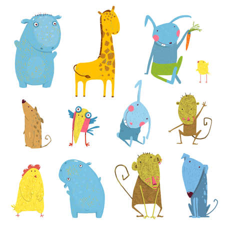 Collection of hand drawn animals for children. Hippopotamus and monkey, chicken and dog, hare and giraffe, vector illustration.