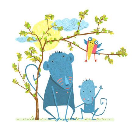 Monkeys in nature. Childish comic and cartoon parent, vector illustration