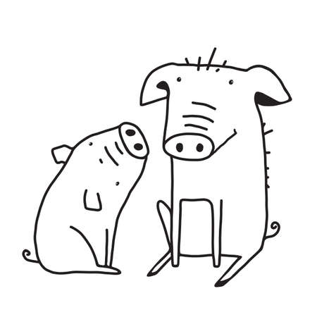 Farm animals line drawing illustration. Animal farm silhouette, swine livestock, for coloring pages book. Vector cartoon.