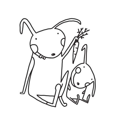 Animal parent bunny with kid, vegetarian vegetable eating, vector illustration. Standard-Bild