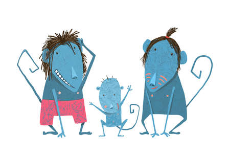 Comical monkey family drawing. Child with mother and father, cartoon ape, vector illustration Standard-Bild