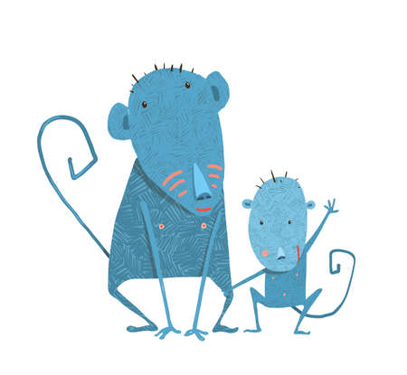 Monkeys family. Childish comic and cartoon parent with son illustration Standard-Bild