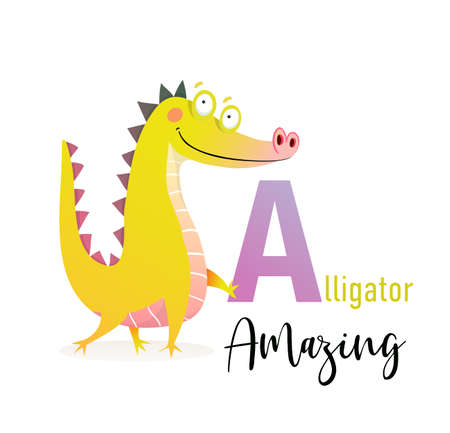 Cute Alphabet for children study. Fun cartoon amazing Alligator holding letter A. Kindergarten and preschool reading study. Vector illustration in watercolor style.