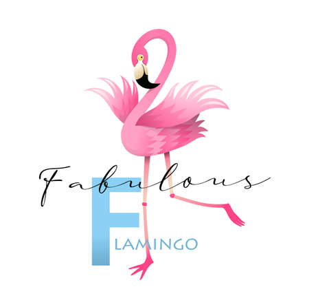 F is for Fabulous Flamingo. Fun colorful english ABC for children. Vocabulary and Letters alphabet Study concept, teaching language cards for teacher. Vector 3d in watercolor style design. Illustration