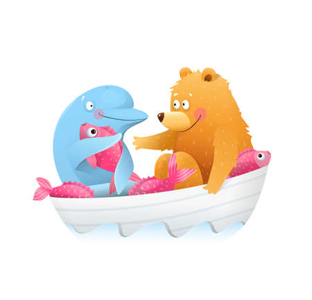 Baby Bear in boat and dolphin friends sharing fish. Kids friendship story between bear cub and dolphin. Cute watercolor style vector animals cartoon for children.