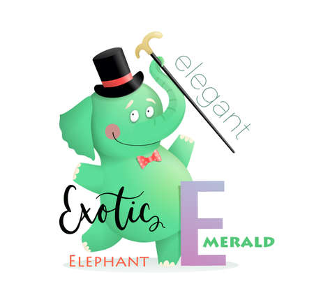 Cute cartoon Elegant Exotic Elephant for letter E. Fun Alphabet for kids education and study. Kindergarten and preschool reading study. Vector illustration in watercolor style.