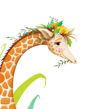 Cute Giraffe animal portrait with flowers and nature. Hand drawn cartoon for kids, t shirt or poster print design. Isolated watercolor style realistic vector animal face illustration.