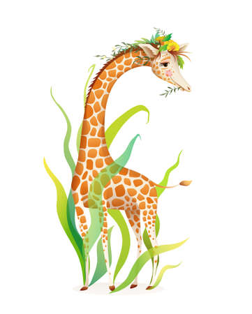 Exotic Giraffe in nature Realistic design for t shirt or poster print. Animal print, picture book, colorful animal character. Watercolor style vector graphic with 3d imitation. Ilustração