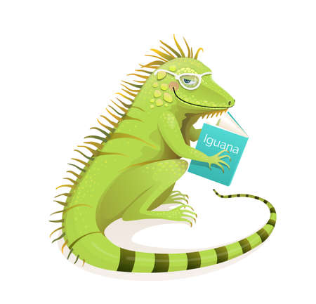 Iguana lizard reading a book, studying and education character cartoon. Isolated animal clipart for school and learning design. Vector realistic watercolor isolated clipart. Illustration