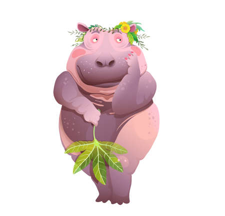 Body positive naked shy Hippopotamus, cute poster print or poster for bathroom design. Vector cartoon with plump humanlike hippo. Illustration