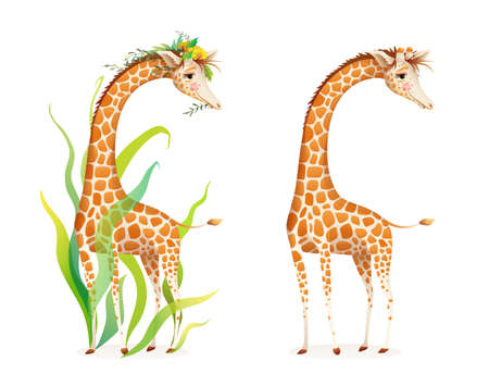 Giraffe in nature realistic 3d cartoon illustration for zoo, safari or kids picture book. Cute graceful giraffe with leaves and flowers, beautiful realistic African animal Vector illustration.
