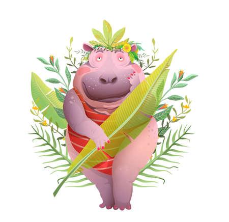 Funny Pretty Hippopotamus Lady in Jungle leaves, romantic mood cartoon. Body positive queen of Jungle pretty cute Hippo lady caricature. Vector watercolor styled design.