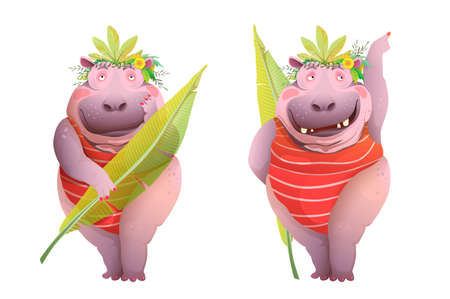Hippopotamus woman posing in jungle leaves costume, funny and hilarious caricature character cartoon. Watercolor styled vector design, animal funky hippo body positive queen.