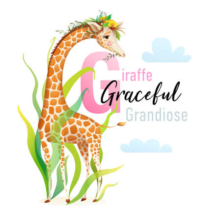 G is for Giraffe, Animal ABC picture book. Cute african Giraffe in nature with flowers and grass character cartoon. Cute zoo animals alphabet picture book, watercolor styled vector design.