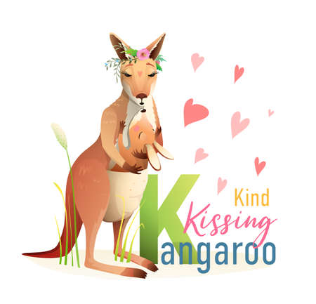 K is for Kangaroo, Animal ABC picture book. Mother and baby in a bag kangaroo character cartoon. Cute zoo animals alphabet picture book, watercolor styled vector design.