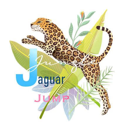 J is for Jumping Jaguar, Animal ABC picture book. Realistic wild Jaguar in Jungle cartoon, kids character design. Wild animal poster or t shirt print design, watercolor styled vector design.