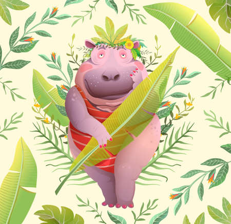 Boho style hippopotamus lady in jungle holding palm leaf, cute funny body positive character design. Romantic hippo hilarious cartoon. Vector watercolor styled plump beauty print design. Vettoriali