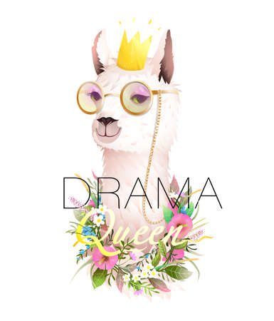 Drama Queen quote t shirt design with lama, hipster llama wearing golden sunglasses, crown and flowers. Cool apparel design with animal meme, cute vector alpaca. Artistic realistic animal design. Ilustración de vector