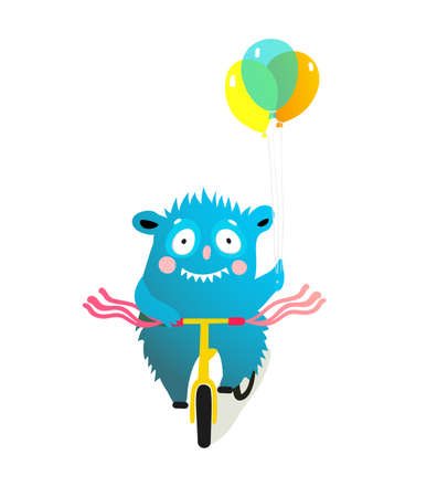 Kids monster character riding bike, decorated bicycle parade or festival clipart. Quirky cyclist creature character. Vector colorful cartoon illustration for children projects. 向量圖像