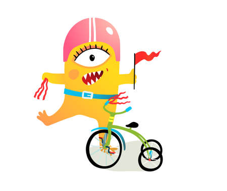 Kids monster character wearing helmet and decorating bike, bicycle parade or festival fun clipart. Quirky cyclist creature character. Vector colorful cartoon illustration for children projects.