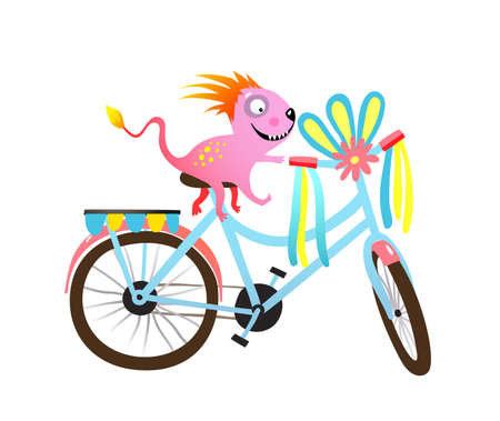 Kids monster riding bike, decorated parade or festival clipart. Quirky cyclist creature character and decorated bicycle. Vector colorful cartoon illustration for children projects.