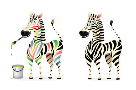 Funny colorful drawing zebra artist and black and white zebra cartoon for kids. African animal character design, 3d vector cartoon graphic.