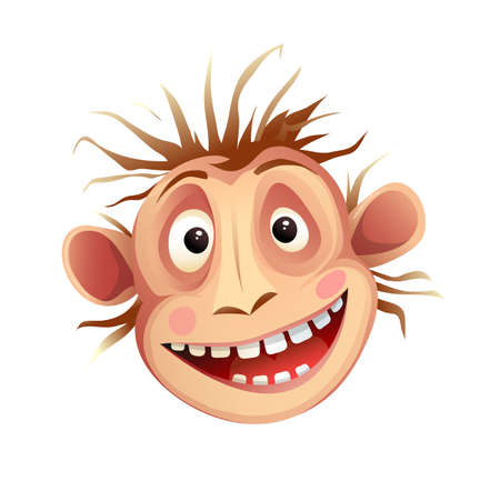 Monkey chimp head, crazy mimicking facial expression. Funky chimpanzee animal head mascot isolated on white, vector cartoon for kids. 向量圖像