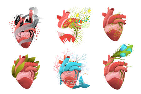 Heart health, pollution and donation concept designs with human heart, flowers and caring hands. Vector cardiac healthcare collection.