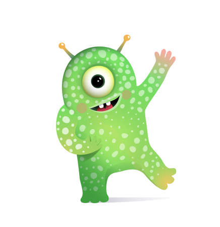 Green Alien Monster with Antennas Greeting for Kids. Cute fictional creature character design for children. Vector cartoon. Illustration