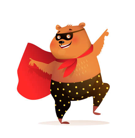 Superhero bear cub smiling and dancing disco wearing mask and cape, brave comic teddy. Kids character design, 3d funny cartoon.