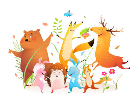 Kids forest animals dancing party, happy bear, fox moose rabbit squirrel and hedgehog forest pets disco. Vector watercolor style cartoon.