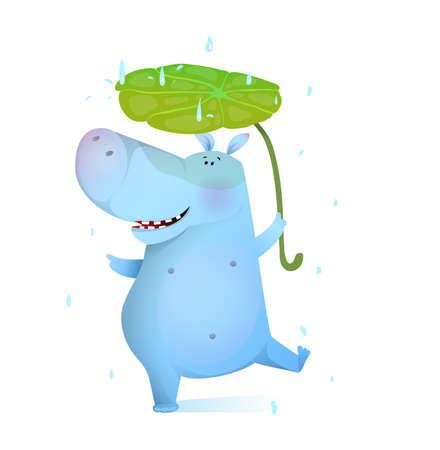 Baby Hippopotamus dance with leaf in rain, clipart cartoon for children. Vector watercolor style cartoon. 向量圖像